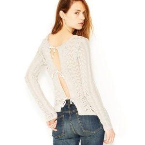 Free People Open Knit Tie Back Sweater - Size L